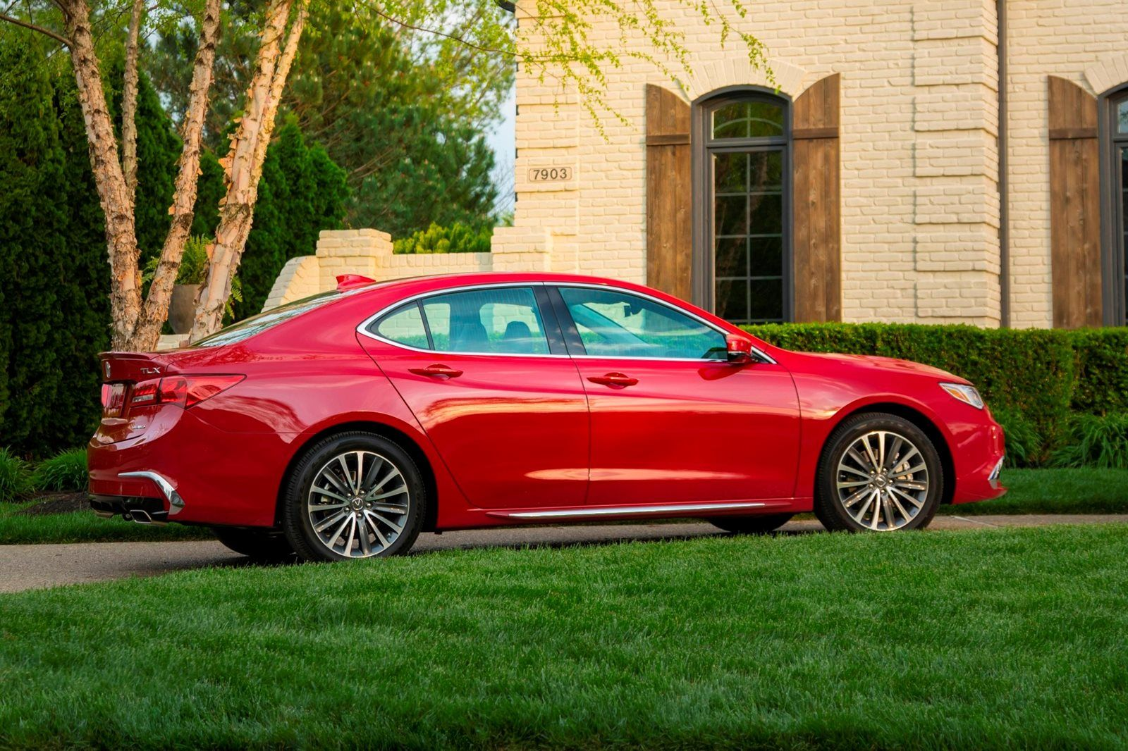 Red Acura TLX side view