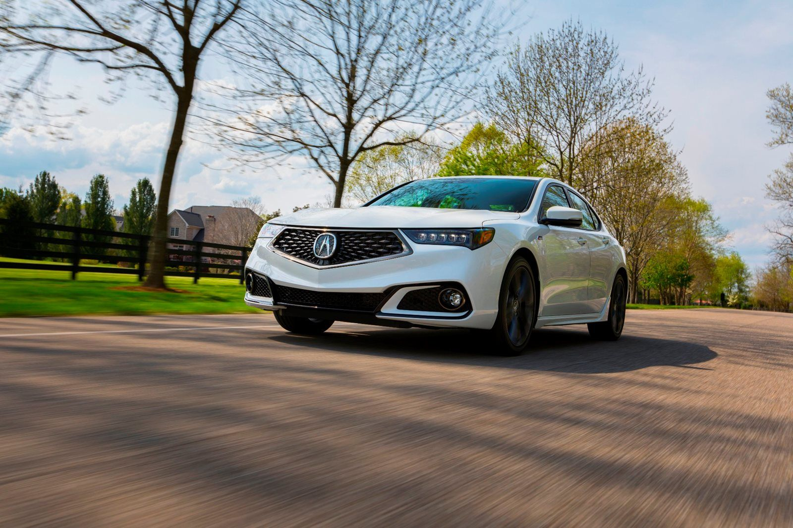 White Acura TLX in action