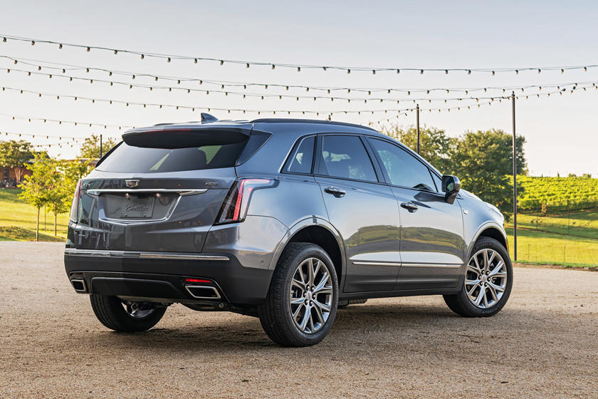 2020 Cadillac XT5 SUV rear three quarter view