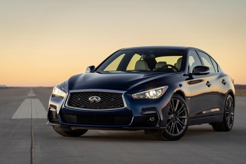 2021 Infiniti Q50 RED SPORT 400 Sedan Front Third Quarter VIew