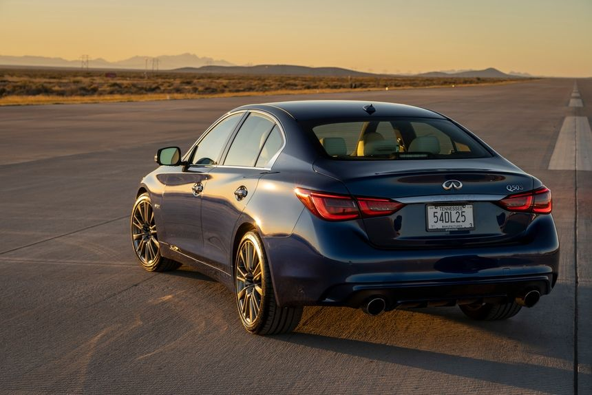 2021 Infiniti Q50 RED SPORT 400 Sedan Rear Third Quarter VIew