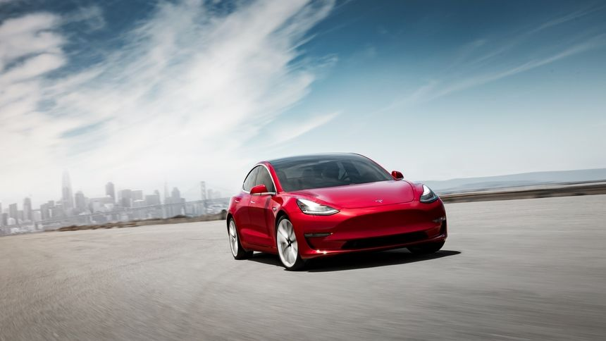 2021 Tesla model 3 electric sedan front view