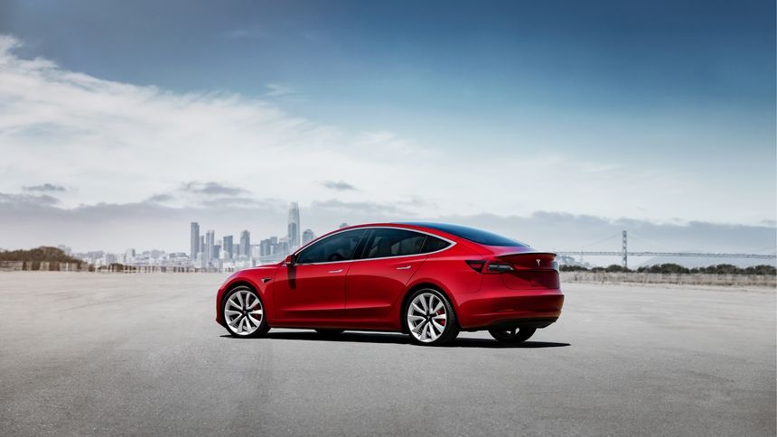 2021 Tesla model 3 electric sedan rear view