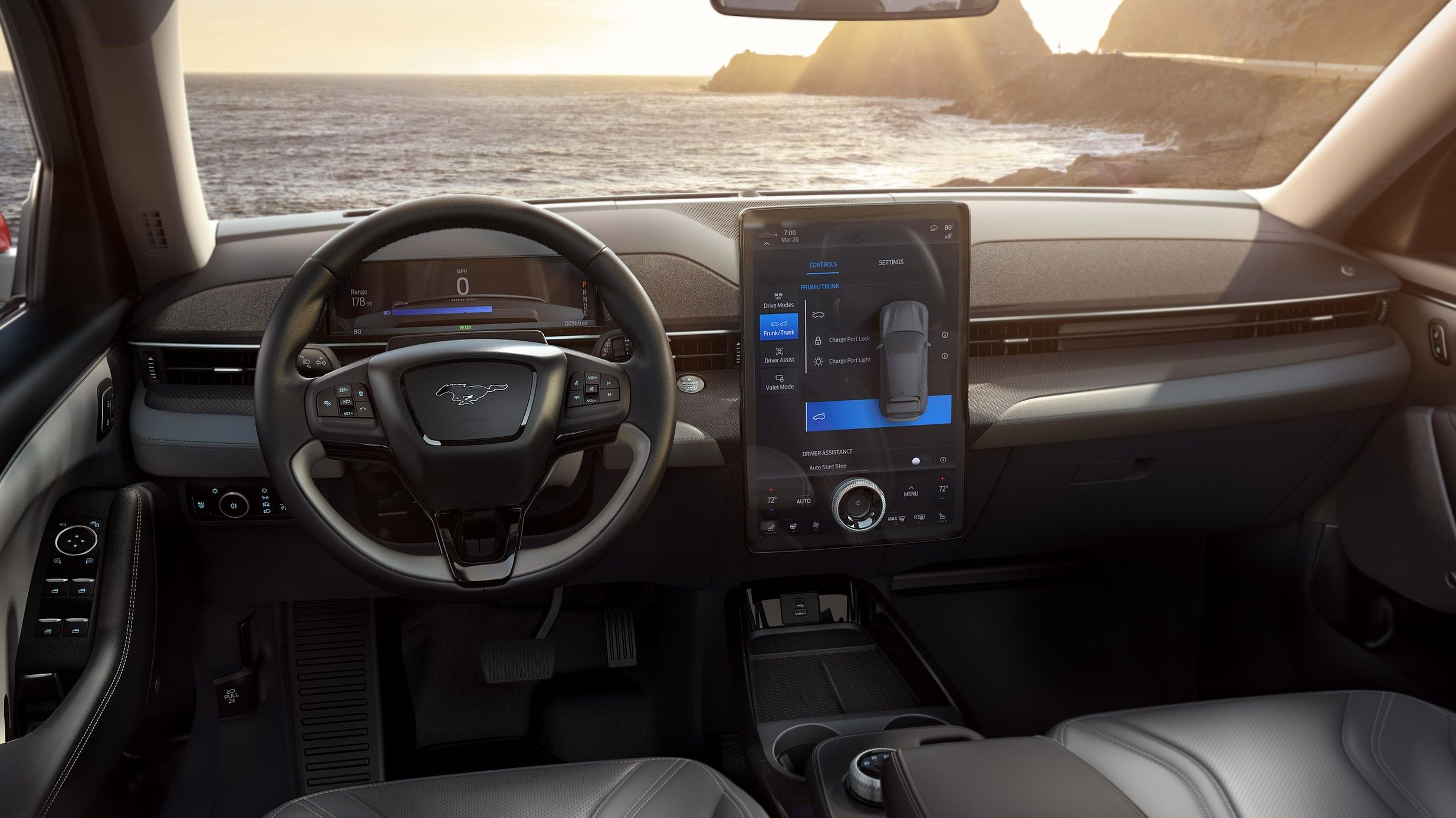 2021 ford mustang mach e interior dashboard view